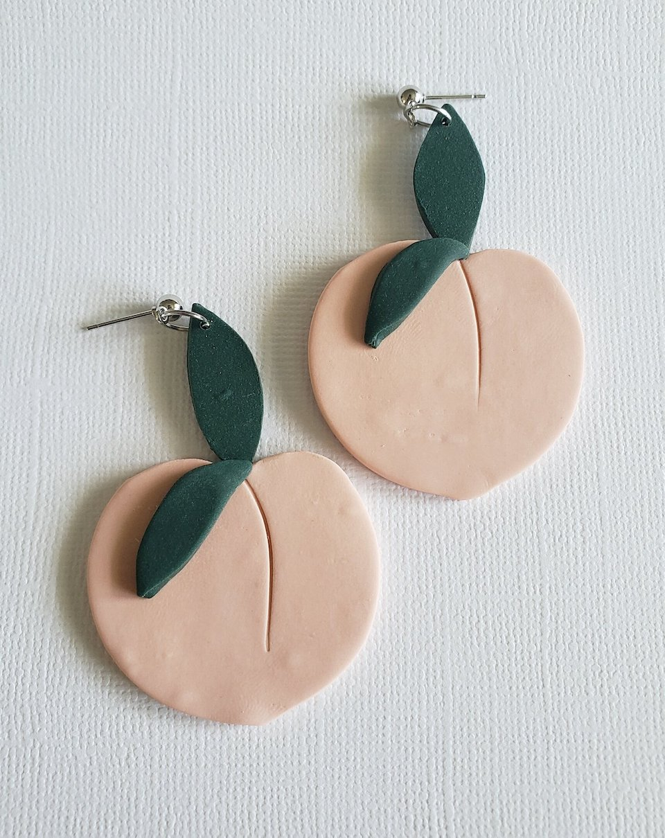 Textured Dainty Dangles Handmade Polymer Clay Earrings Lightweight and Unique Hypoallergenic Titanium Posts Peachy Pink Window Arch